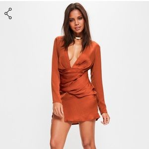 Missguided NWT Orange silky long sleeve Panelled